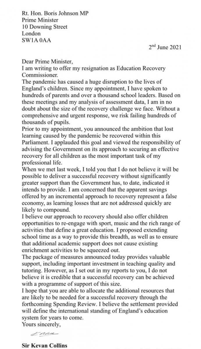 Kevan-Collins-Resignation-June-2021